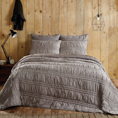 Claude Quilt Set Size: Queen, Color: Urban Gray
