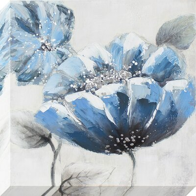 'Blue Poppy' Painting on Wrapped Canvas