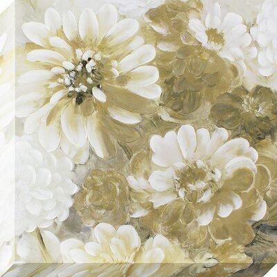 Dreamy Golden Flowers Original Painting on Wrapped Canvas
