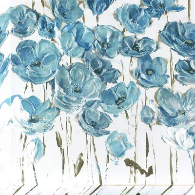 Dusty Blue Poppies Original Painting on Wrapped Canvas