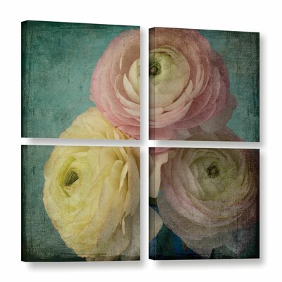 Pink Ranunculus 5 4 Piece Graphic Art on Wrapped Canvas Set
