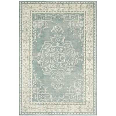 Ellisburg Hand-Knotted Ivory/Blue Area Rug Rug Size: Rectangle 5 x 8