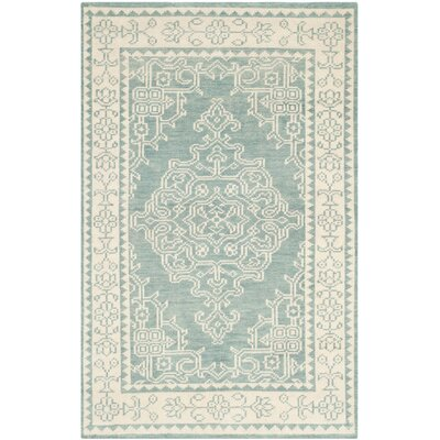 Ellisburg Hand-Knotted Ivory/Blue Area Rug Rug Size: Rectangle 4 x 6
