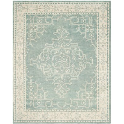 Ellisburg Hand-Knotted Ivory/Blue Area Rug Rug Size: Rectangle 8 x 10