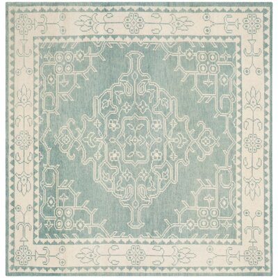 Almeda Hand-Knotted Ivory/Blue Area Rug Rug Size: Square 7