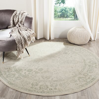 Issa Ivory/Sage Area Rug Rug Size: Round 6