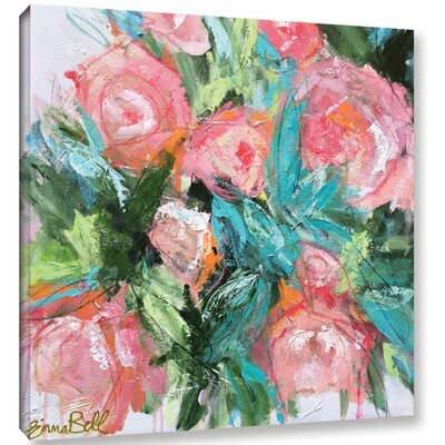 Garden Peonies Painting Print on Wrapped Canvas