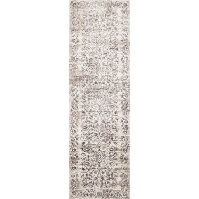 Camellia Ivory/Gray Area Rug Rug Size: Runner 22 x 611