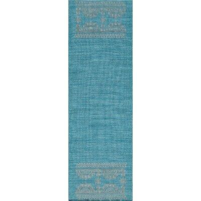 Dyann Hand-Woven Teal Area Rug Rug Size: Runner 23 x 8