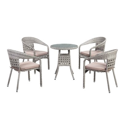 Alex Outdoor 5 Piece Dining Set with Cushions