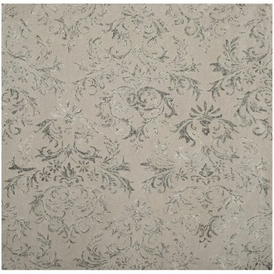 Bangle Lake Hand-Tufted Gray Area Rug Rug Size: Round 6