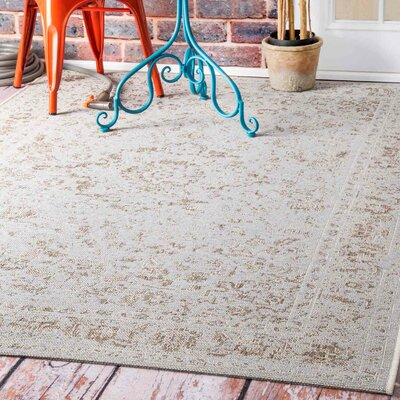 Algrange Ivory Indoor/Outdoor Area Rug Rug Size: 53 x 76