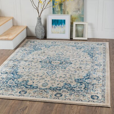 Danes Cream/Blue Area Rug