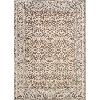 Alixton Flower Pot Orange/Gray Area Rug Rug Size: 710 x 109