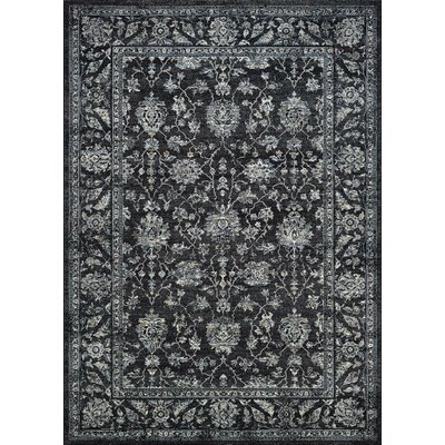 Johnston All Over Mashhad Black Area Rug Rug Size: Rectangle 53 x 76