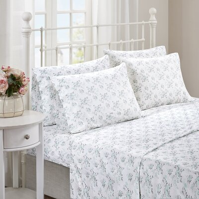 Albright 6 Piece Comfort Wash Cotton Sheet Set Size: Full, Color: Aqua