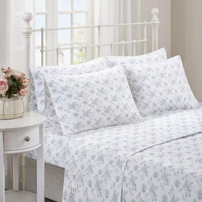 Albright 6 Piece Comfort Wash Cotton Sheet Set Size: King, Color: Blue