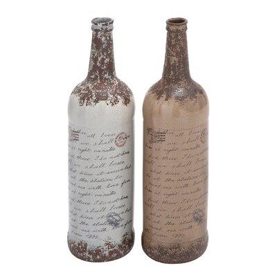 2 Piece Brown Ceramic Vase Set