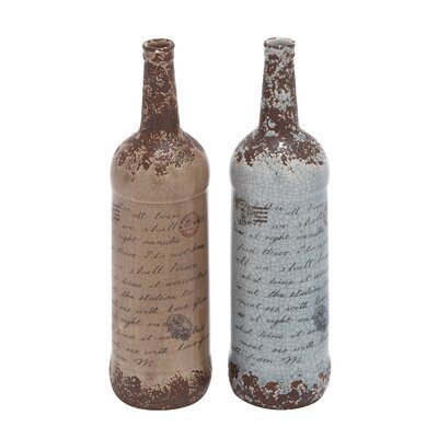 2 Piece Brown Ceramic Vase Set