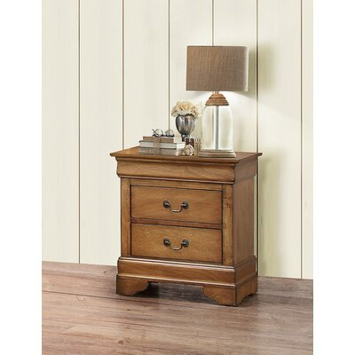 Corbeil 2 Drawer Nightstand Finish: Light Walnut