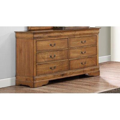 Corbeil 6 Drawer Double Dresser Color: Light Walnut