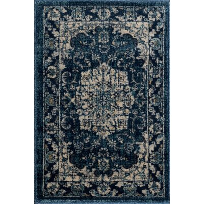 Aquila Traditional Navy/Cream Area Rug Rug Size: 2 x 3
