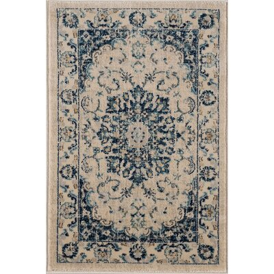 Aquila Medallion Cream/Blue Area Rug Rug Size: 2 x 3