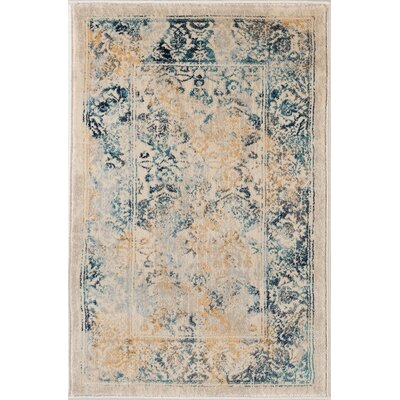 Aquila Blue/Yellow & Gold Area Rug Rug Size: 2 x 3