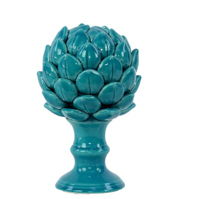 Porcelain Artichoke on a Pedestal Gloss Sculpture Size: Small, Color: Turquoise
