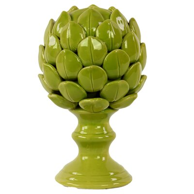 Porcelain Artichoke on a Pedestal Gloss Sculpture Size: Large, Color: Green