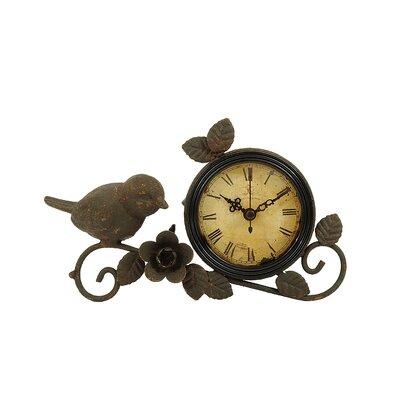 Bird and Flower Metal Mantle Clock