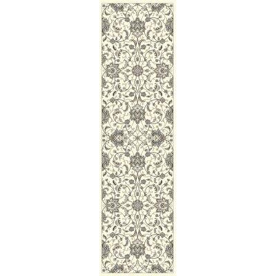 Romola Ivory Borderless Kashan Area Rug Rug Size: Runner 22 x 710