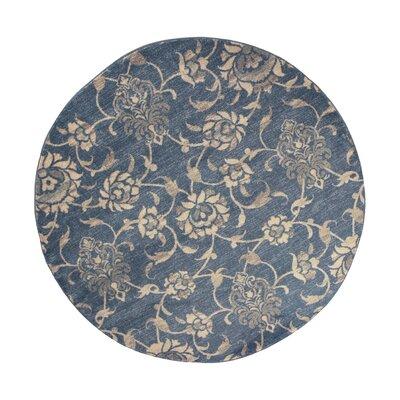 Naiara Peony Blue Area Rug Rug Size: Round 77