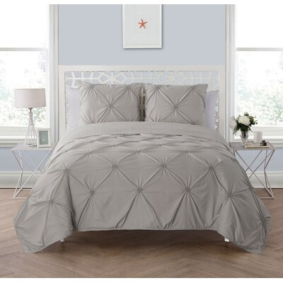 Peony 3 Piece Reversible Quilt Set Size: Full/Queen, Color: Gray