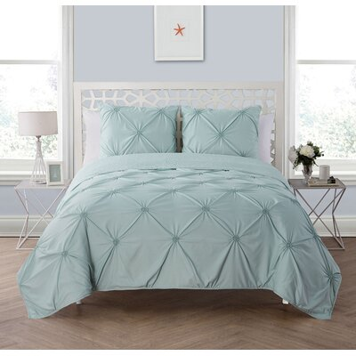 Peony 3 Piece Reversible Quilt Set Color: Aqua, Size: Full/Queen