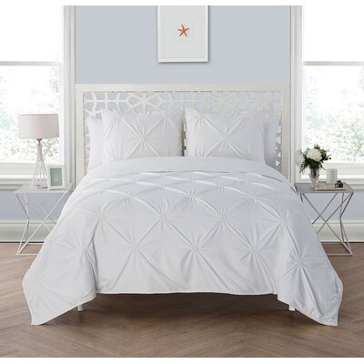 Peony 3 Piece Reversible Quilt Set Size: Full/Queen, Color: White