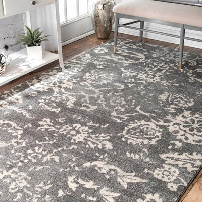 Asleigh Charcoal Area Rug Rug Size: 9 x 12