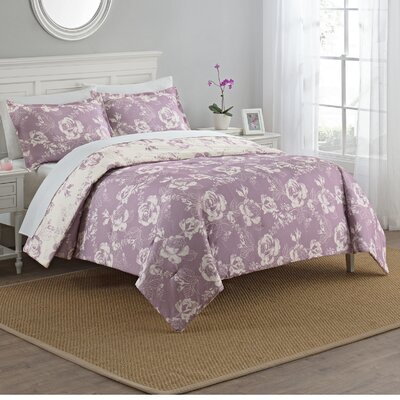 Caledonia 3 Piece Reversible Comforter Set Size: Queen, Color: Purple