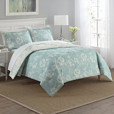 Caledonia 3 Piece Reversible Comforter Set Size: Queen, Color: Blue