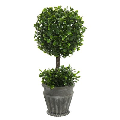 Artificial Boxwood Foliage Topiary in Pot
