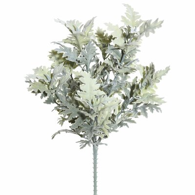 Artificial Flocked Dusty Miller Bush Foliage Plant