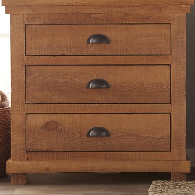 Castagnier 3 Drawer Night Stand Color: Distressed Pine