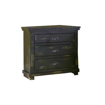 Castagnier 3 Drawer Night Stand Finish: Distressed Black
