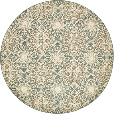 Pauley Sage Green/Cream/Brown Area Rug Rug Size: Round 8