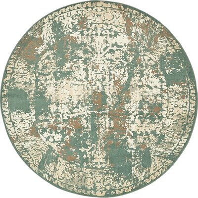 Pauley Green Area Rug Rug Size: Round 8