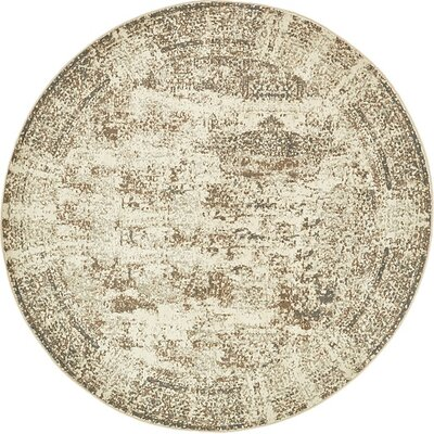 Forcalquier Abstract Cream Area Rug Rug Size: Round 8