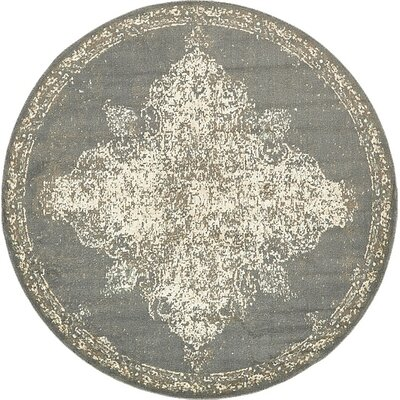 Forcalquier Abstract Gray Area Rug Rug Size: Round 8
