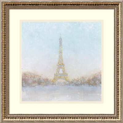 Eiffel Romance no Couple Turquoise Framed Painting Print