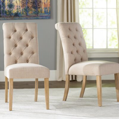 Pompon Tufted Side Chair Upholstery Type - Color: Linen - Beige