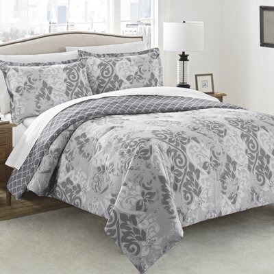 Paugh 3 Piece Reversible Comforter Set Size: King